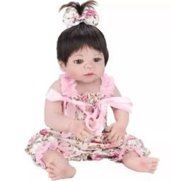 Boneca bebê Reborn Menina toda de Silicone 56 cm