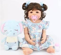 Boneca Bebê Reborn de 55cm Inteira de Silicone