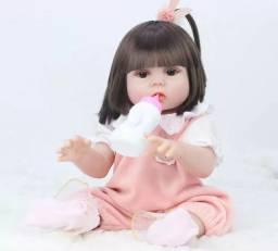 Boneca bebê Reborn Menina toda de Silicone faz xixi 49 cm