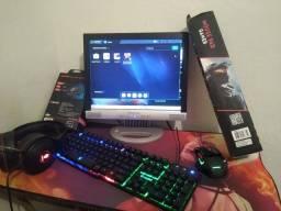 PC gamer  muito bom,roda Free fire com bom desempenho BlueStacks 4.100 ou 4.90 etc