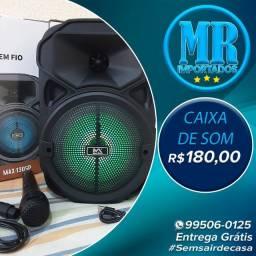 Caixinha De Som Fm / Usb / Bluetooth Com Led Max (Entrega grátis)