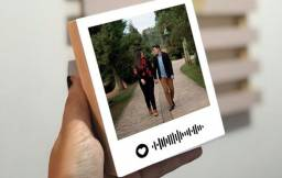 Polaroid de mesa - foto de casal com Qr code