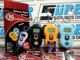 Balança Digital Portátil De Mão P/ Bolsa,Mala,Peixe e pets capac. Até 50kg