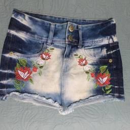 saia jeans com aplicação