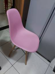 Título do anúncio: Mesa de jantar branca eiffel com 4 cadeiras rosa eameas