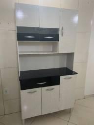 Armário de cozinha kit 6 portas branco e preto