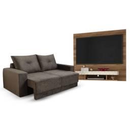 Sofá Retrátil Arezzo 1,90 m + Painel Home Suspenso Dubai para TV até 47 Pol