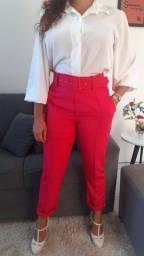 Calça social de alfaiataria com fivela forrada pink