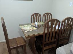 Mesa + 6 cadeiras madeira maciça com tampo de vidro