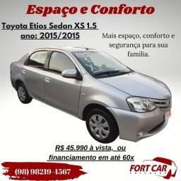 Etios Sedan XS 2015 por R$ 45.990 à vista, financio em até 60x