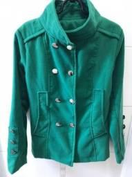 Casaco de lã batida verde