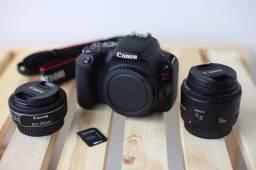 Canon SL2 POUQUÍSSIMO USADA com 2 lentes + Acessorios
