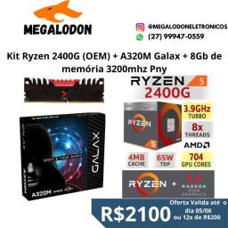 Kit Ryzen 2400G + Placa mãe A320m Galax + 8Gb de memoria ddr4 3200mhz PNY, Novo