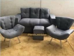 KiT De Sofa 3 Lugares 2 Poltronas e 1 Puf Novo Embalado Pronta Entrega