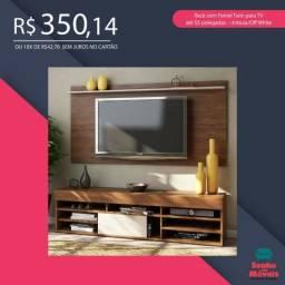 350,00 Rack com Painel Twin para TV até 55 polegadas ? Imbuia/Off White