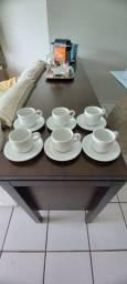 Conjunto de 6 xícaras chá/café de louça/porcelana