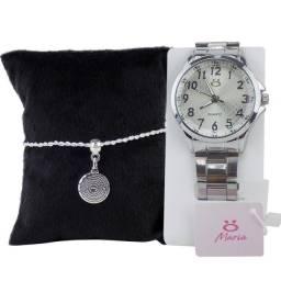 Relógio Analógico feminino em Aço Pulseira Ajustável RMA117b + Pulseira Premium Prata