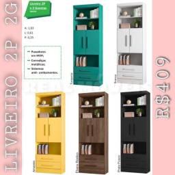 Livreiro estante 2 portas e 2 gavetas