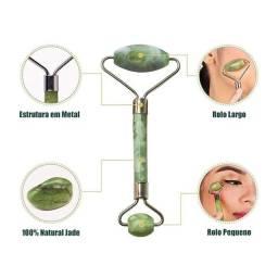 Rolo Massageador Facial C/ Pedra Quartzo Verde Anti Olheiras