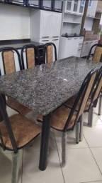 Mesa de Jantar Seminova com 8 Cadeiras | Tampo de Granito, Estrutura em Aço