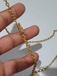 Cordao cadeado 5mm banhado em ouro 18k