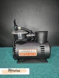 Mini Compressor De Ar Automotivo Multiuso Compacto 12v Preto