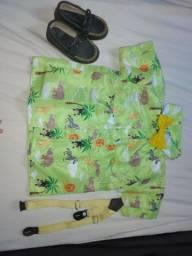 conjunto de camisa temática com sapato mocassim