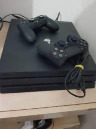 Ps4 Pro 1tb 4k + 11 jogos + 2 controles com capas + outros itens.
