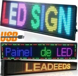Painel Led Letreiro Luminoso Digital RGB - 70 X 20cm (NOVO)
