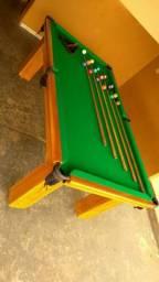 Mesa Madeira de Redes Cor Imbuia Tecido Verde Mod. IZNJ8097