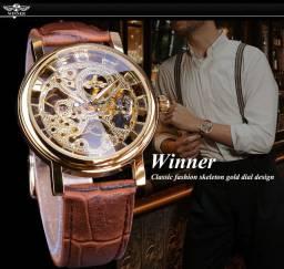Relogio Winner design casual marrom pulseira de couro masculino luxo mecânico