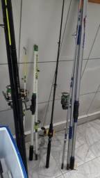 Varas de pesca, molinete, carretilha.