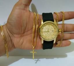 Cordão Pulseira e relógio Banhado á Ouro 18k Entrega Grátis