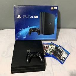 PS4 PRO (com caixa) 1 CONTROLE + 3 JOGOS