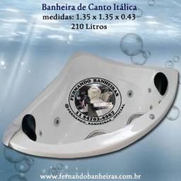 Banheira de Canto Itálica Spa Ofurô hidromassagem aquecedor cromoterapia
