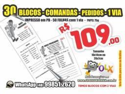 30 Blocos de Comandas *Recibo *Pedido *OS *Personalizado *logo e contato 10x14 ou 14x7