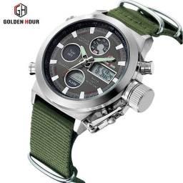 Relógio analógico digital moda masculino, com pulseira de nylon,prova dagua