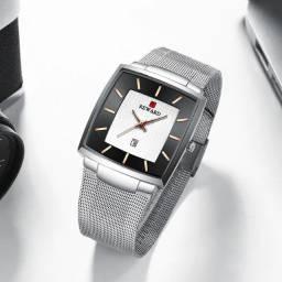 Relógio masculino ultrafino de aço inoxidável, de quartzo com pulseira de malha
