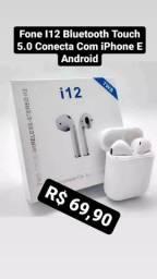 Fone bluetooth i12 compatível com iPhone e Android