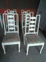 6 cadeiras em madeira de lei  acentos veludo em relevo antigas patinadas zap *5
