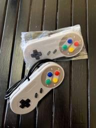 PAR Controle Manete Super Nintendo USB Multiuso (NOVOS SEM USO)