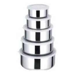 Conjunto de Potes e Tigelas Organizadoras Inox 5 Peças com Tampa