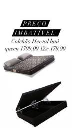 Colchão Herval e baú queen