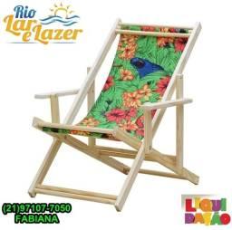 Cadeira Preguiçosa Dobrável Madeira Maciça Natural