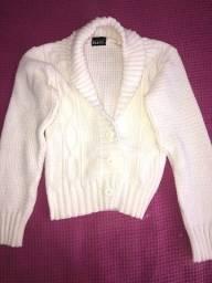 Casaco de tricô branco