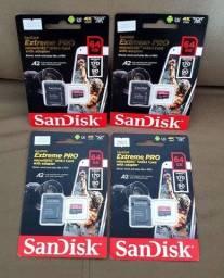 CARTÃO MICRO SD SANDYSK EXTREME PRO 64GB 4K LACRADO À PRONTA ENTREGA