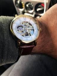 Relógio  mecânico Forsining  oco gravura caixa pulseira de couro