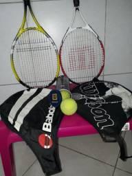 Raquetes de tênis com 3 bolas