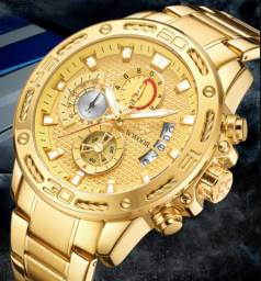 Relógio de Luxo Aço Inoxidável Dourado Top Masculino
