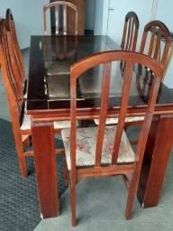 ( Oferta ) Mesa de Jantar com Tampo de Vidro + 06 Cadeiras.( Frete Grátis)